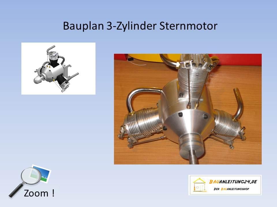 Bauplan 3-Zylinder Sternmotor