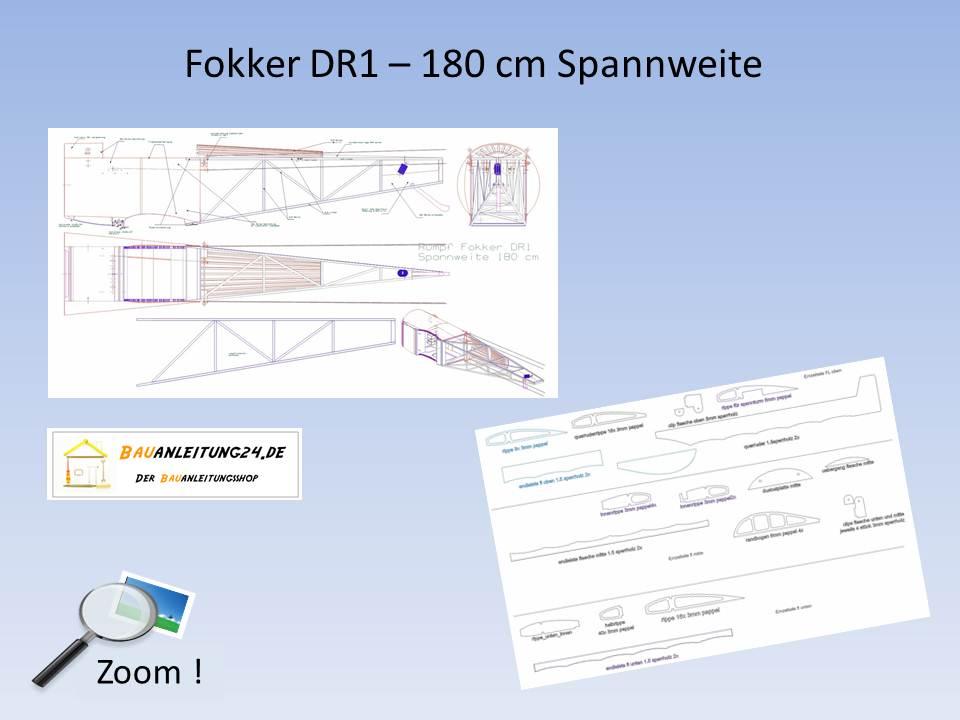 Bauplan Fokker DR1 - 180 cm Spannweite