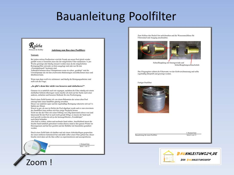 bauanleitung f r einen poolfilter. Black Bedroom Furniture Sets. Home Design Ideas